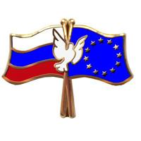 Значок Россия - Евросоюз из латуни